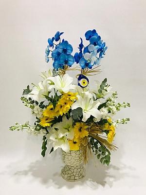 çift dal mavi orkide aranjmanı